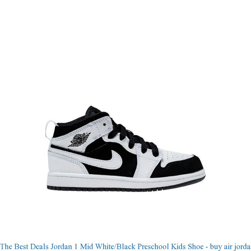The Best Deals Jordan 1 Mid White/Black Preschool Kids Shoe - buy air  jordans cheap - R0376